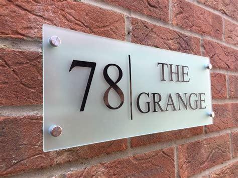modern house sign plaque door number street glass effect