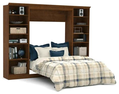 109 In. Full Wall Bed With Storage Unit In Chocolate
