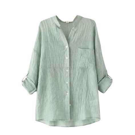 womens linen shirts blouses chic sheer cotton casual blouse sleeve linen