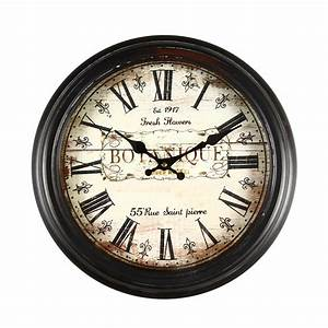 adeco brown antique look wall clock quotbotaniquequot ck0021 With roman letter wall clock