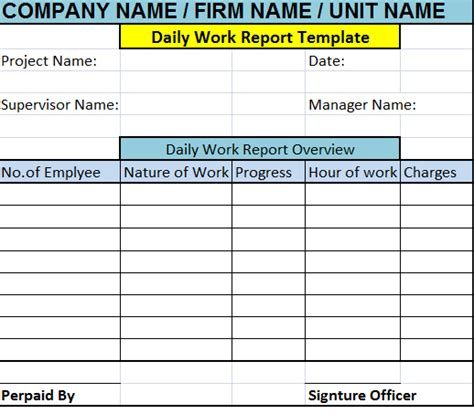 daily work report template  report templates
