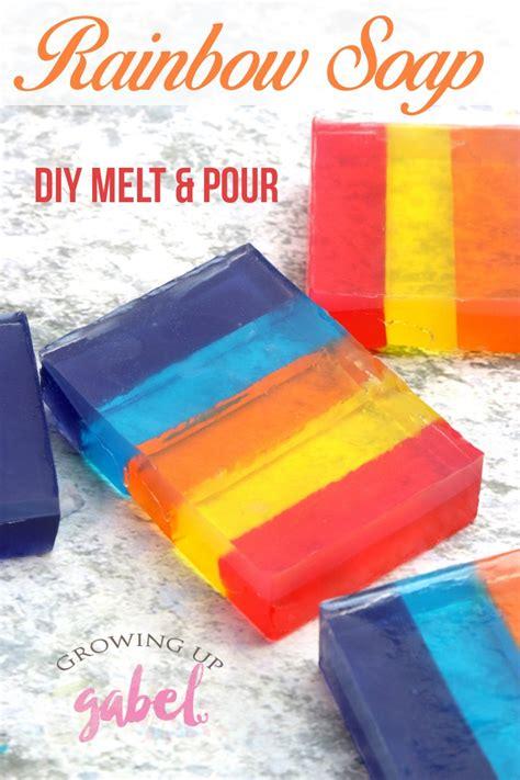 melt  pour diy rainbow layered soap tutorial