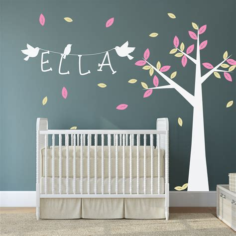 sticker arbre chambre b nursery tree with name and birds wall stickers by wallboss