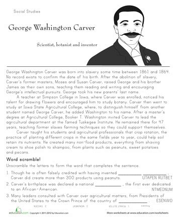 historical heroes george washington carver 2nd grade