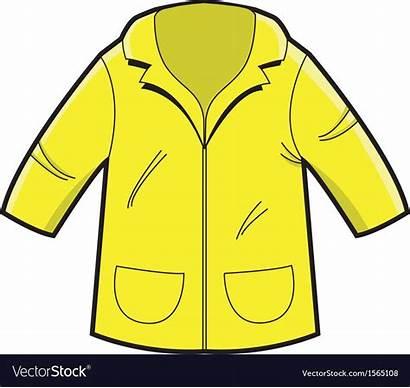 Coat Rain Yellow Vector Cartoon Jacket Vectorstock