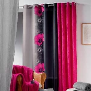 Rideau Rose Et Gris : rideau 140 x h240 cm maeva fuchsia rideau tamisant eminza ~ Teatrodelosmanantiales.com Idées de Décoration
