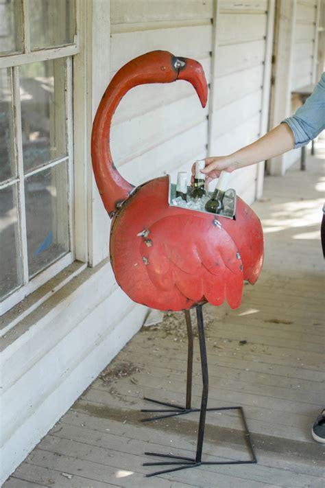 recycled iron flamingo cooler  planter