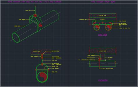 pipe hanger cad block  typical drawing  designers
