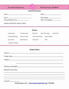 Cake order form templates free cupcakes pinterest for Cake order invoice template