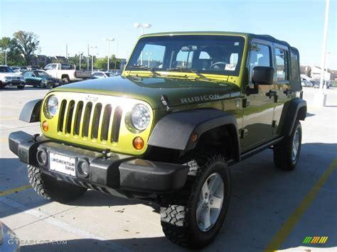 jeep unlimited green 2007 rescue green metallic jeep wrangler unlimited rubicon