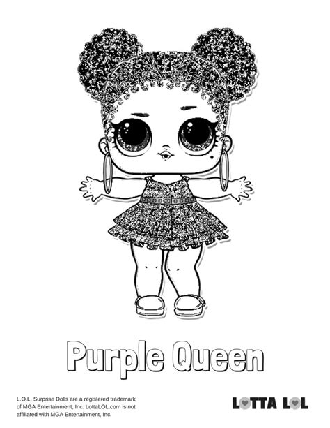 purple queen lol surprise doll coloring page lotta lol