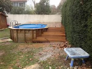 plage de piscine pour piscine hors sol en bois exotique With construction piscine hors sol en beton 2 terrasse bois autour d une piscine hors sol