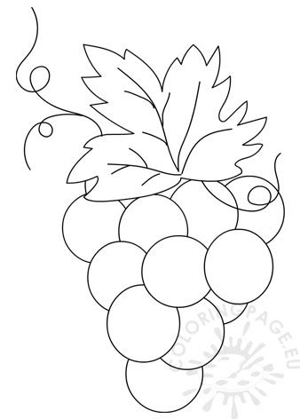 printable bunch  grapes template coloring page