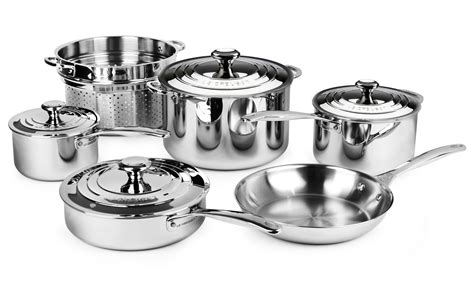 le creuset stainless steel cookware set  piece