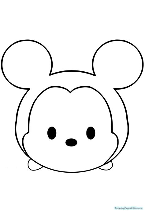 Coloring Tsum Tsum by Disney Tsum Tsum Mickey Coloring Pages Black And White