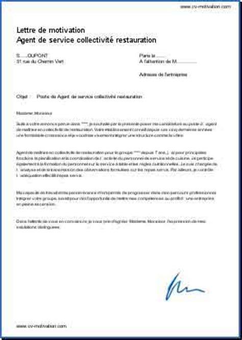 commis de cuisine de collectivité exemple lettre de motivation restauration lettre de