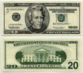 Money 20 Dollar Bill Back Actual Size Printable