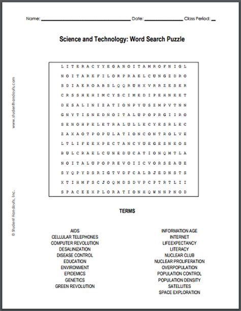 printable word search technology science and technology word search puzzle student handouts