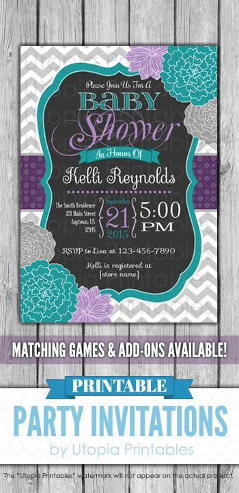 teal purple floral baby shower invitation chevron flowers