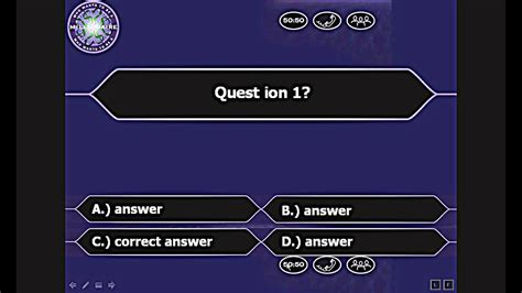 be a who wants to be a millionaire powerpoint