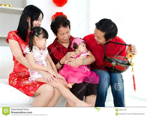 New Celebrate Family Friends Life: Happy Chinese New Year Stock Photo
