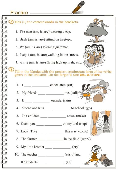 present continuous tense worksheets for grade 4