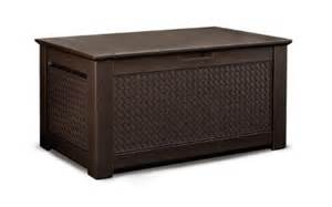 buy rubbermaid patio chic outdoor storage cube teak basket weave 1837303 in cheap price