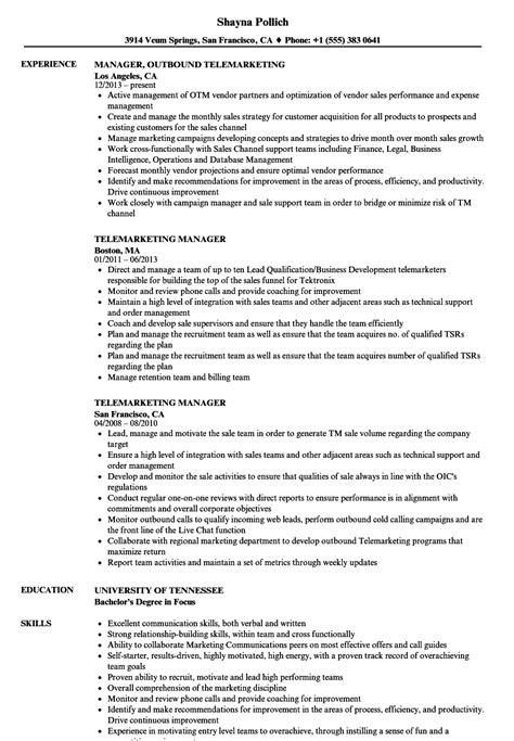 Telemarketing Resume by Telemarketing Manager Resume Sles Velvet