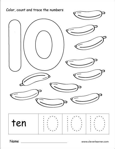 Number 10 Tracing And Colouring Worksheet For Kindergarten  10 ის ფარგალი  Numbers Preschool