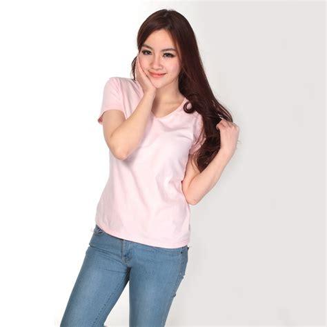 kaos tshirt polos v neck vneck kaos polos katun wanita v neck size l 81105 t shirt
