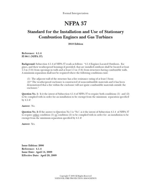 Nfpa 37: Standard for the Installation and Use of