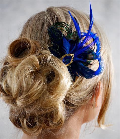 Royal Blue Cobalt Peacock Feather Bridesmaid Hair