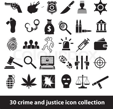 kriminalitaet und justiz symbole vektorgrafik colourbox