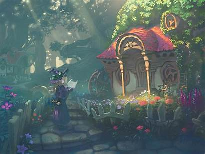Witch Anime Hut Plant Tree Paper Background