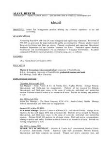 tax manager resume exles senior tax manager resume