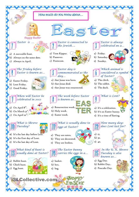 easter trivia easter quiz english for kids pinterest best easter quiz easter and english ideas