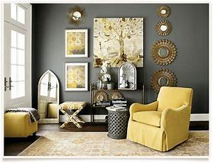 Yellow and gray living room homes
