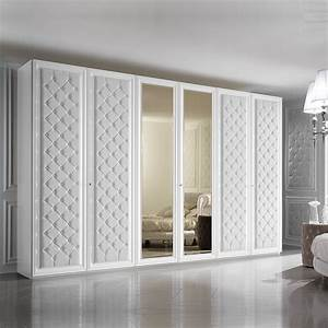 Large 6 Door Button Upholstered Fitted Wardrobe
