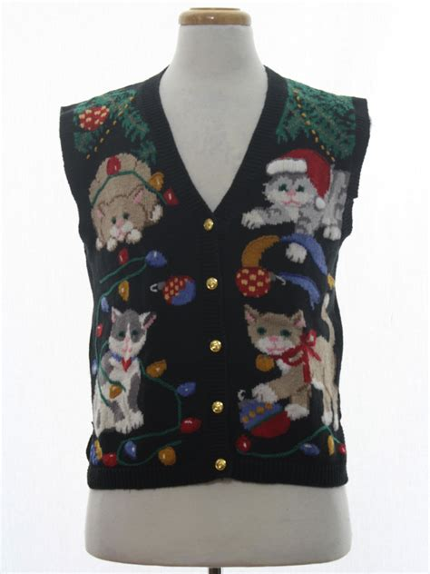 womens cat tastic ugly christmas sweater vest countryside classics womens black background