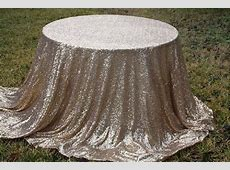 120' Round Champagne Matte Gold Sequin Tablecloth
