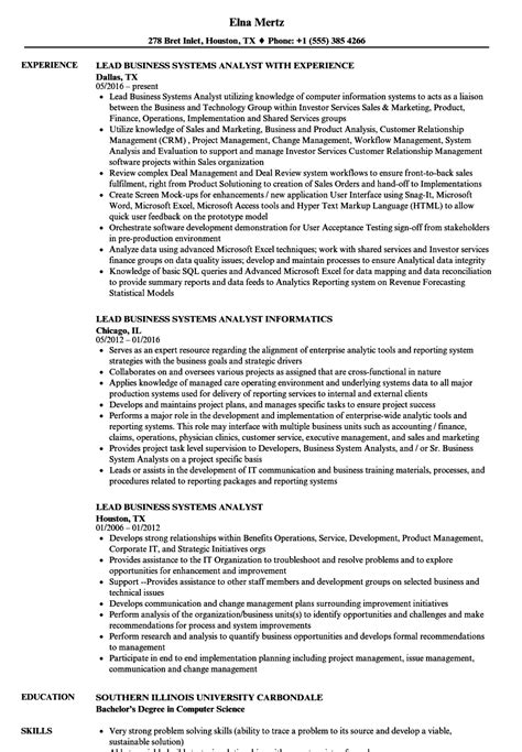 Business Systems Analyst Resume by Lead Business Systems Analyst Resume Sles Velvet