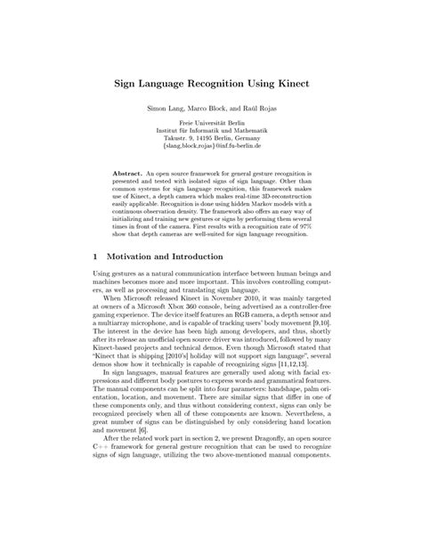 (PDF) Sign Language Recognition Using Kinect