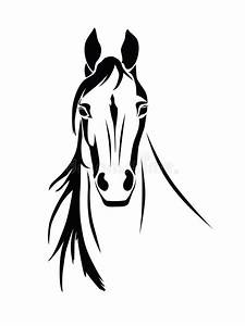 Silhouette Of A Horse Head Front View Stock Vector ...