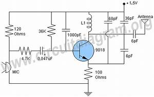 fm transmitter circuit page 4 rf circuits nextgr With two transistors wireless microphone fm transmitter circuit schematic diagram