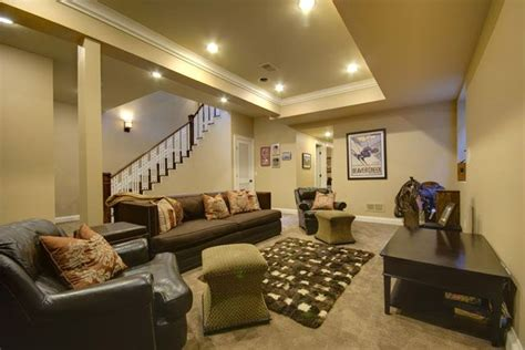 Basement Family Room With Nine Foot Tray Ceiling
