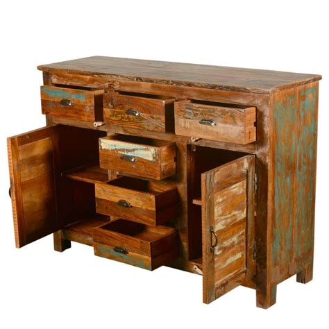 Salvaged Wood Sideboard by Pedro Rustic Reclaimed Wood 6 Drawer Sideboard