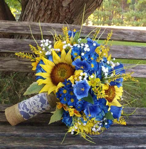 rustic sunflower  cobaltroyal blue bridal bouquet