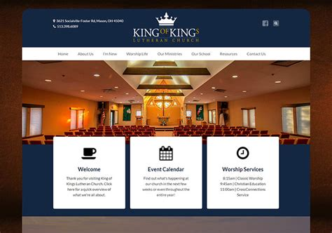 church website design king of church radiant web design