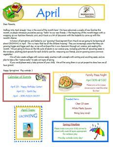 preschool april newsletter news inspiration preschool 477