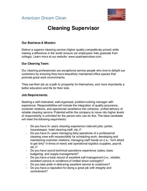 Janitor Supervisor Resume Sle by Templates Janitorial Supervisor Memeac 28 Images